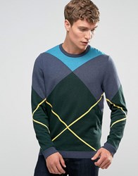 Asos Jumper With Argyle Pattern Green