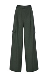 Tibi Ioden Green Wide Leg Twill Pant Olive