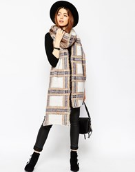 Asos Extra Fluffy Long Check Scarf White