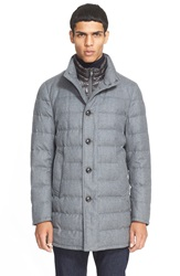 Moncler 'Vallier' Quilted Wool Down Topcoat Medium Heather Grey