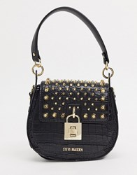 Steve Madden Bbria Studded Cross Body Bag In Black Croco