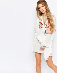 Glamorous Floral Embroidered Smock Dress Cream