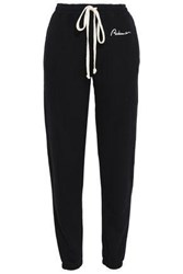 Re Done Embroidered French Cotton Terry Track Pants Black