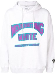 White Mountaineering Logo Print Drawstring Hoodie Grey
