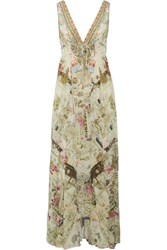 Camilla Crystal Embellished Printed Silk Crepe De Chine Maxi Dress Sand
