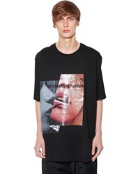 Juun.J Printed And Embroidered Cotton T Shirt Black