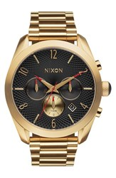 Women's Nixon 'Bullet' Guilloche Chronograph Bracelet Watch 42Mm Gold Black Red