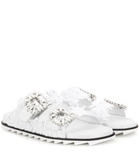Roger Vivier Slidy Viv Leather Slip On Sandals Silver