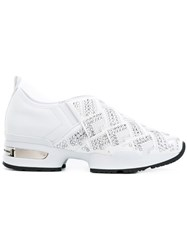 Ermanno Scervino Rhinestone Studded Slip On Sneakers Women Leather Polyester Rubber 39 White