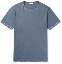 Sunspel Unpel Lim Fit Contrat Tipped Cotton Jerey T Hirt Torm Blue Storm Blue