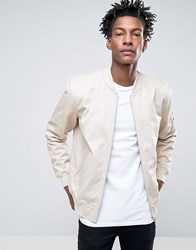 Asos Bomber Jacket With Sleeve Zip In Stone Stone
