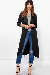 Boohoo Belted Shawl Collar Duster Black