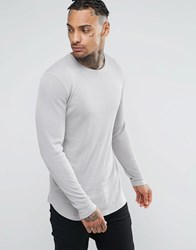 Asos Rib Longline Muscle Long Sleeve T Shirt With Curved Hem In Grey Grey