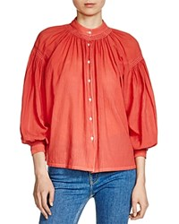 Maje Camille Peasant Shirt Brick Red