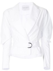 Strateas Carlucci Cropped Belted Shirt White