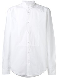 Dondup Long Sleeve Collarless Shirt Men Cotton M White
