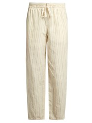 Loewe Drawstring Waist Striped Cotton Blend Trousers Beige Multi