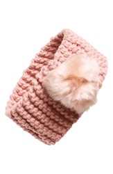 Dena Ear Warmer Pompom Headband Pink Blush