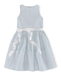 Ralph Lauren Childrenswear Sleeveless Embroidered Ramie Dress Blue