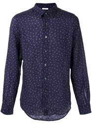 Boglioli Polka Dot Shirt Men Linen Flax 41 Blue