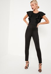 Missguided Black Frill Sleeve Open Back Jumpsuit