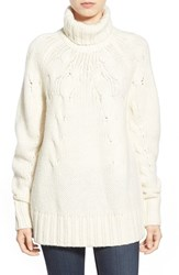 Women's Michael Michael Kors Cable Knit Turtleneck Sweater Cream