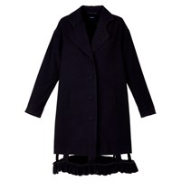 Acephala Corduroy Coat With Flounce Black