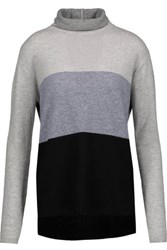 Magaschoni Colorblock Cashmere Turtleneck Sweater Gray