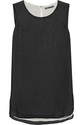 Vince Layered Silk Chiffon Tank Black