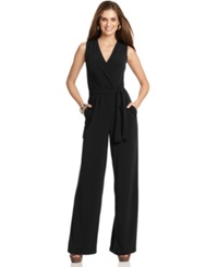 Ny Collection Petite Surplice Belted Wide Leg Jumpsuit Black