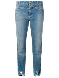 Closed Distressed Slim Fit Jeans Blue