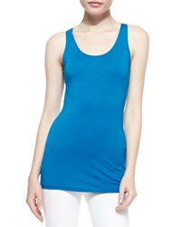 Donna Karan Scoop Neck Jersey Tank Top Cerulean