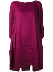 Aspesi Flared Pleated Dress Women Silk Linen Flax 38 Pink Purple
