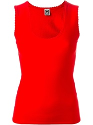 M Missoni Scalloped Trim Tank Top Red