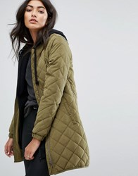 Jdy Longline Quilted Bomber Jacket Dark Olive Green