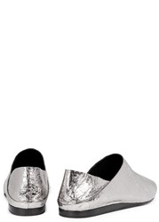 Mcq By Alexander Mcqueen Liberty Gunmetal Leather Flats Silver