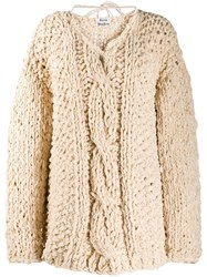 Acne Studios Loose Weave Cable Knit Jumper Neutrals