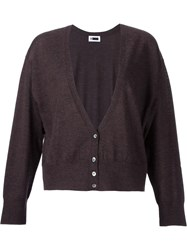 H Beauty And Youth. Deep Neck Cardigan Brown