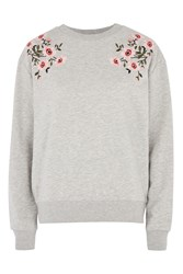 Topshop Petite Embroidered Sweat Top Grey Marl