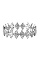 Bony Levy 18K White Gold Pave Diamond Crown Ring Size 6.5 0.07 Ctw