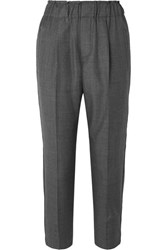 Brunello Cucinelli Cropped Bead Embellished Wool Tapered Pants Gray