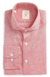 Strong Suit Men's Big And Tall Trim Fit Solid Cotton And Linen Dress Shirt Red