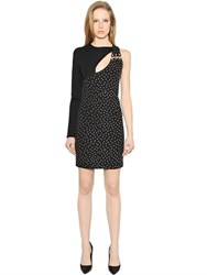 Versus One Shoulder Studded Techno Jersey Dress