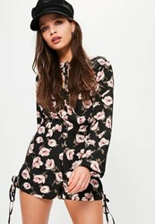 Missguided Black Floral Printed Tie Hem Detail Shorts Blush