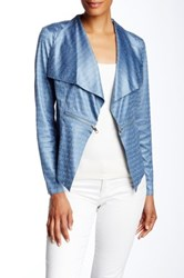 Insight Textured Faux Leather Zipper Jacket Blue