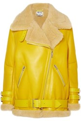 Acne Studios Velocite Shearling Trimmed Leather Biker Jacket Yellow