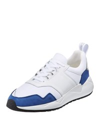 Buscemi Ventura Runner Lace Up Sneakers White Blue