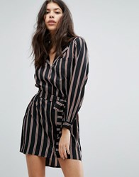 Influence Oversized Striped Shirt Dress Black White