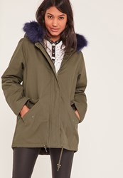 Missguided Khaki Faux Fur Lined Parka Coat