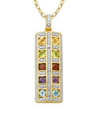 Lord And Taylor Multi Stone Pendant Necklace